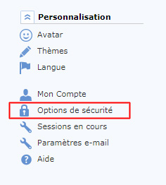 GMX - Options de sécurité