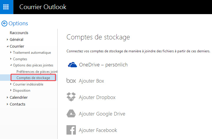Outlook.com - Comptes de stockage