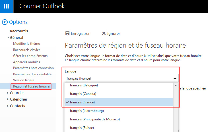 Mofidier la langue sur la messagerie Outlook.com