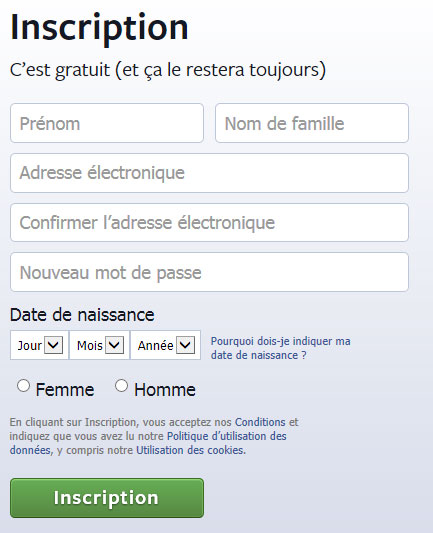 Facebook Inscription