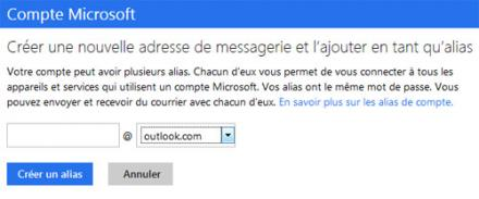 Comment créer un Alias d'adresses Email dans Outlook.com