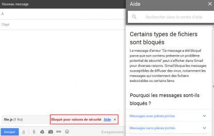 Les fichiers JavaScript ne sont pas autorisés à être envoyés via Gmail