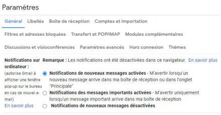 Modifier les paramètres de notifications