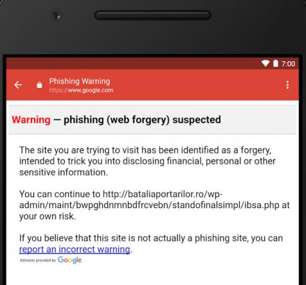 Gmail : Un message d'avertissement pour vous informer que vous courez un risque