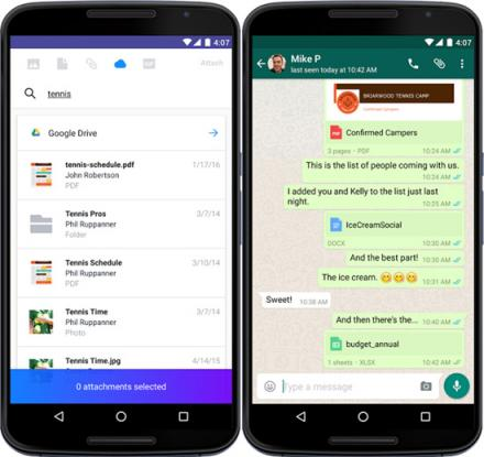 Google Drive avec Yahoo et WhatsApp
