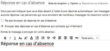 Configurer le message d'absence, réponse automatique sur Outlook.com (Hotmail)