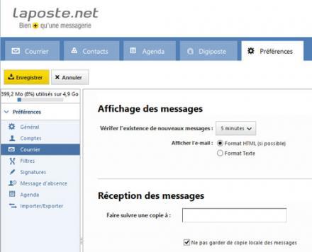Laposte.net en direction d'une autre adresse électronique