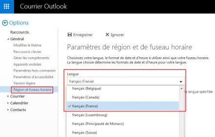 Mofidier la langue sur la messagerie Outlook.com