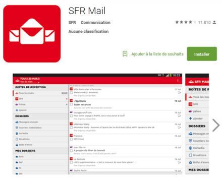 L'application SFR Mail pour les utilisateurs mobiles