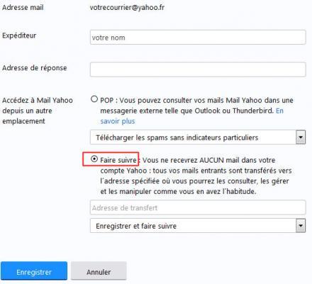 La redirection des messages Yahoo Mail