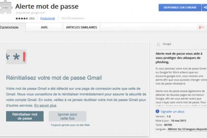 Alerte mot de passe Google Chrome