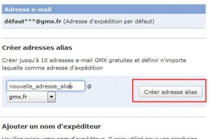 Créer un alias de votre adresse GMX