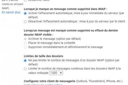 Comment paramétrer les serveurs IMAP et SMTP pour Gmail ?