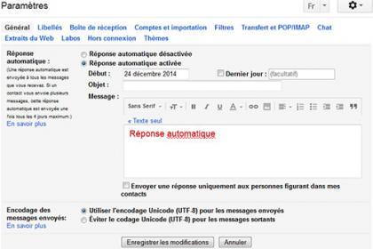 Configurer le réponse automatique sur Gmail