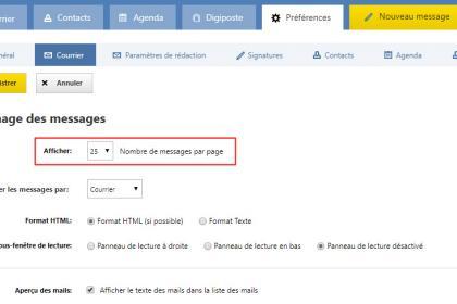 Mail Laposte : Modifier le nombre de messages à apparaître par page