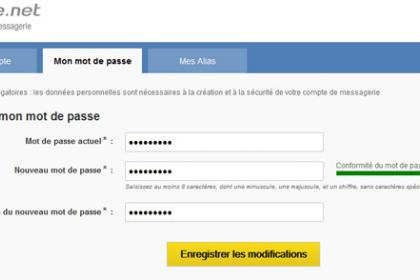 Changer son mot de passe LaPoste.net