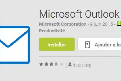 L'application Android Outlook tout version