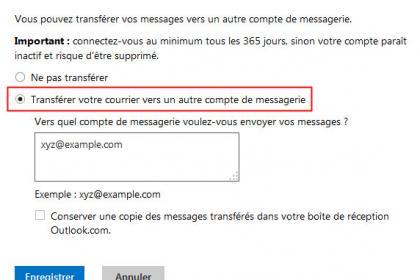 Outlook : Vous pouvez transférer vos messages vers un autre compte de messagerie