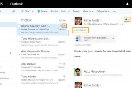 Outlook sur le Web cède aux Likes et autres Mentions