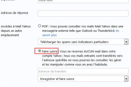 La redirection des messages Yahoo Mail